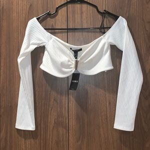 Forever 21 White Off Shoulder Clasp Crop Top NWT